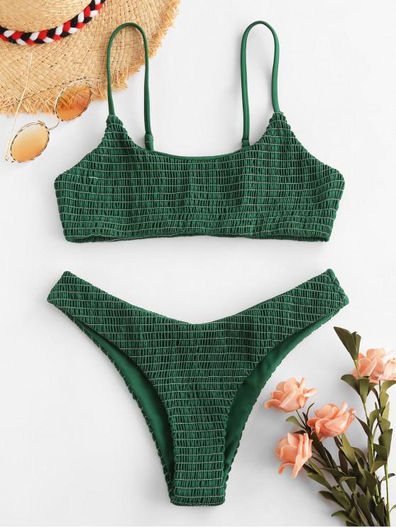 women ZAFUL Shirred Bralette Cami Bikini Set - MEDIUM SEA GREEN S