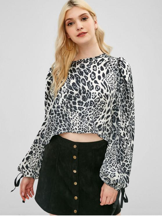 lady Knotted Cropped Leopard Blouse - LEOPARD ONE SIZE