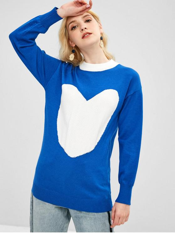 online Tunic Knit Heart Graphic Sweater - BLUE ONE SIZE