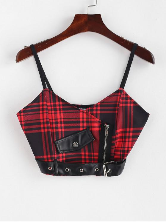 lady Belt Embellished Zipper Plaid Cami Top - LAVA RED L
