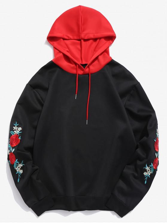 best ZAFUL Flower Embroidery Applique Sleeve Drawstring Hoodie - BLACK XL