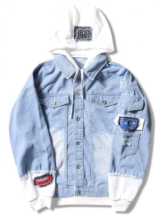 fashion Casual Faux Pocket Ripped Letter Number Applique Hooded Jacket - LIGHT BLUE M