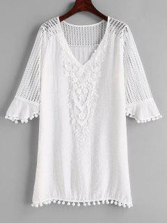 Crochet Pom Pom Cover Up Dress - White L
