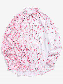 Colorful Bars Print Button Hidden Long Sleeve Valentine Shirt - Pig Pink M