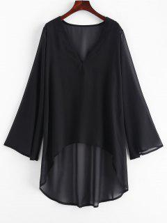 Chiffon High Low Beach Cover Up Dress - Black