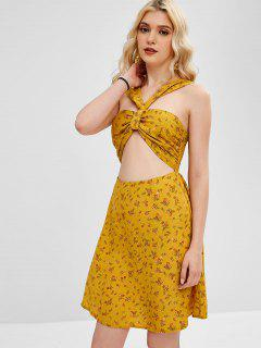 ZAFUL Floral Print Cut Out Flare Dress - Orange Gold S