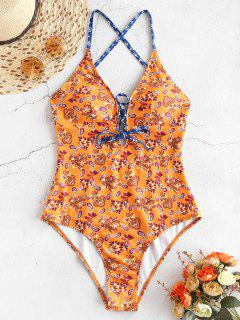 ZAFUL Ethnic Lace Up Swimsuit - Sandy Brown M