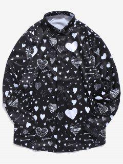 Chemise Cœur Lettre Imprimée Avec Bouton Caché Saint Valentin - Noir L