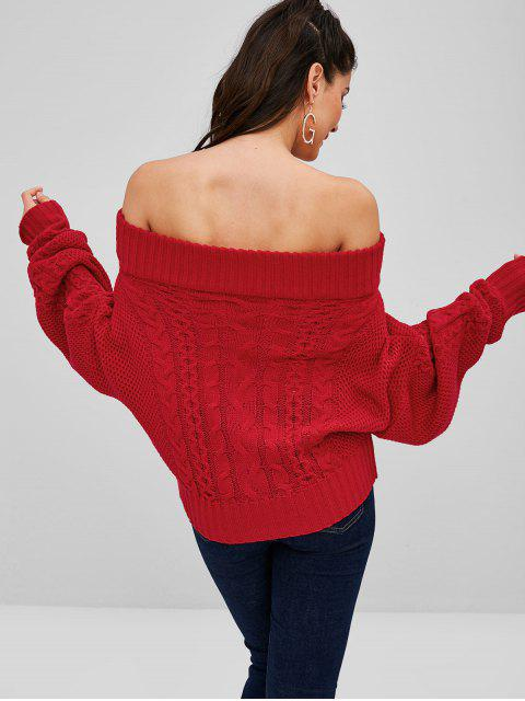 new Off Shoulder Cable Knit Dolman Sweater - RED ONE SIZE Mobile