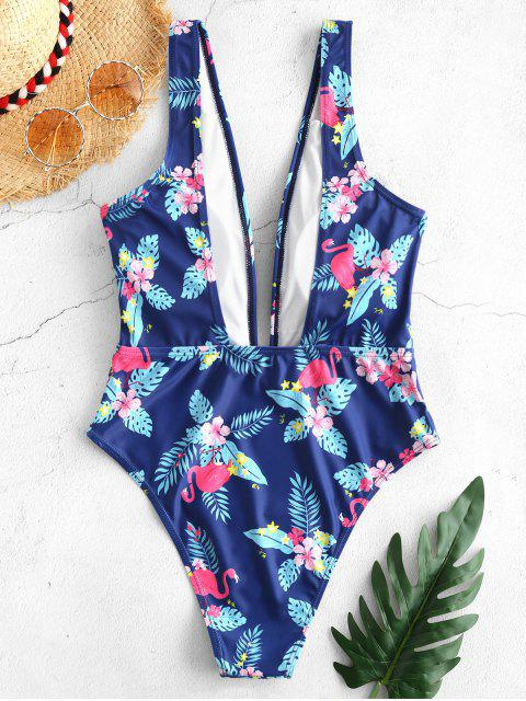 fancy ZAFUL Flamingo Flower Plunging Swimsuit - BLUEBERRY BLUE L Mobile