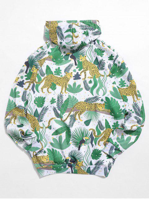 shops Leaf Leopard Print Kangaroo Pocket Hoodie - MULTI L Mobile