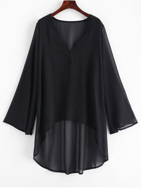 women's Chiffon High Low Beach Cover Up Dress - BLACK ONE SIZE Mobile