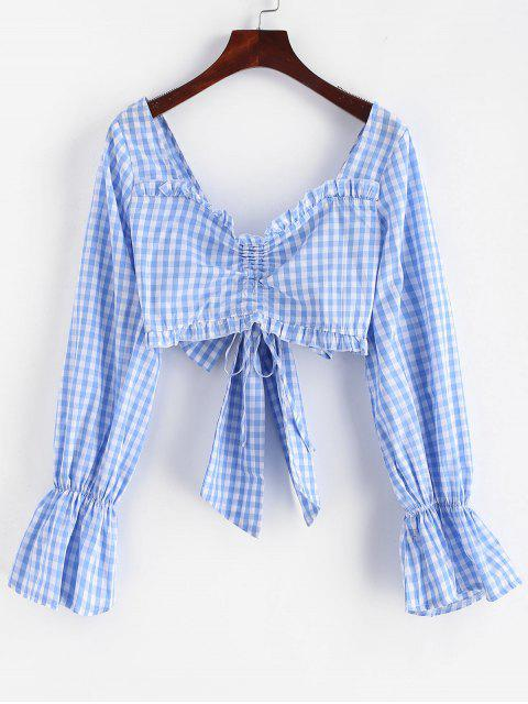 women's ZAFUL Cinched Plaid Knotted Crop Blouse - DAY SKY BLUE M Mobile