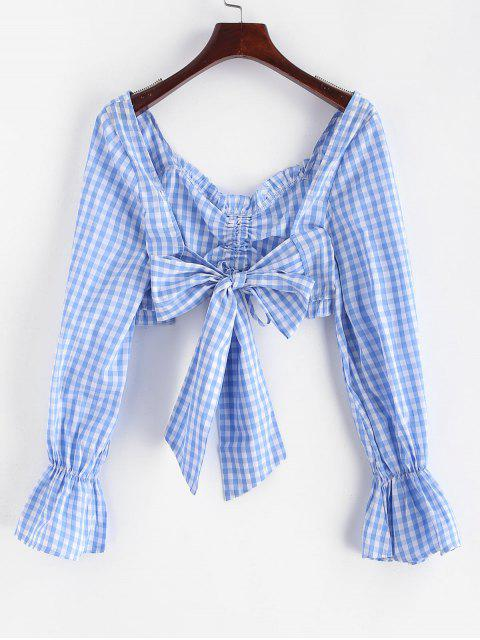 buy ZAFUL Cinched Plaid Knotted Crop Blouse - DAY SKY BLUE S Mobile