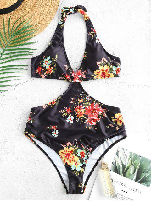 unique ZAFUL Flower Halter Monokini Swimsuit - BLACK S Mobile