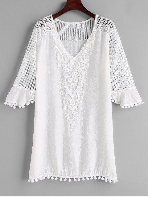 outfits Crochet Pom Pom Cover Up Dress - WHITE M Mobile