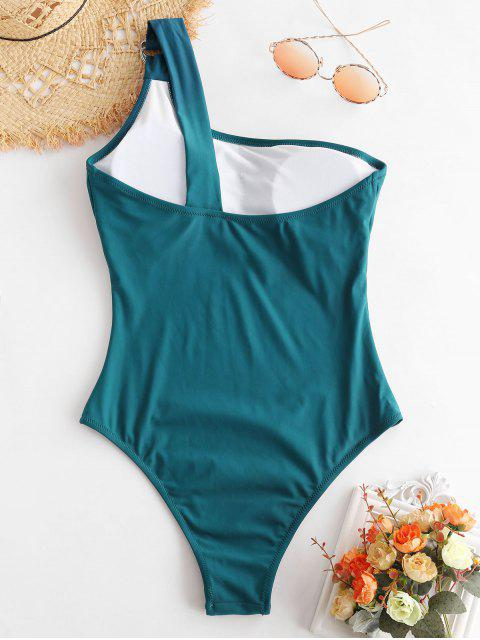 womens ZAFUL One Shoulder High Leg Swimsuit - PEACOCK BLUE S Mobile