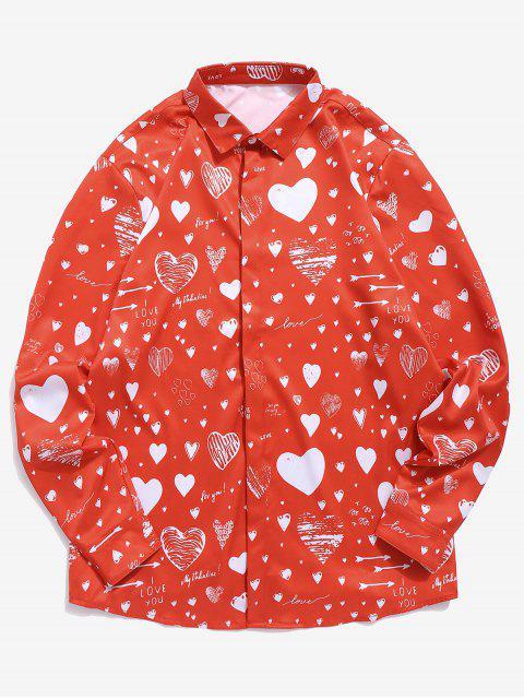 Chemise Cœur Lettre Imprimée avec Bouton Caché Saint Valentin - Rouge Lave XL Mobile