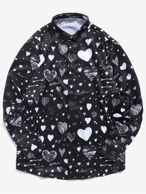 Chemise Cœur Lettre Imprimée avec Bouton Caché Saint Valentin - Noir M Mobile