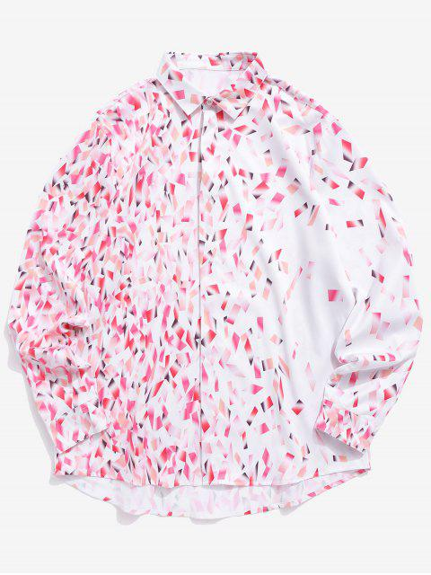 best Colorful Bars Print Button Hidden Long Sleeve Valentine Shirt - PIG PINK S Mobile