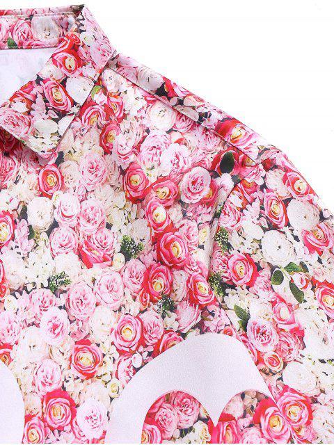 Chemise Fleurie Imprimée Saint Valentin - Rose Léger  2XL Mobile