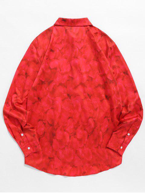 Chemise Chien Couché Dans les Fleurs Imprimé - Rouge Lave S Mobile