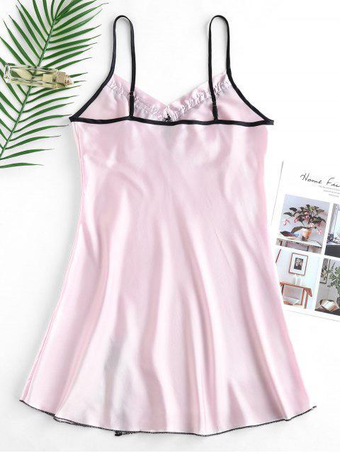 lady Bowknot Slit Crochet Slip Pajama Dress - PIG PINK XL Mobile