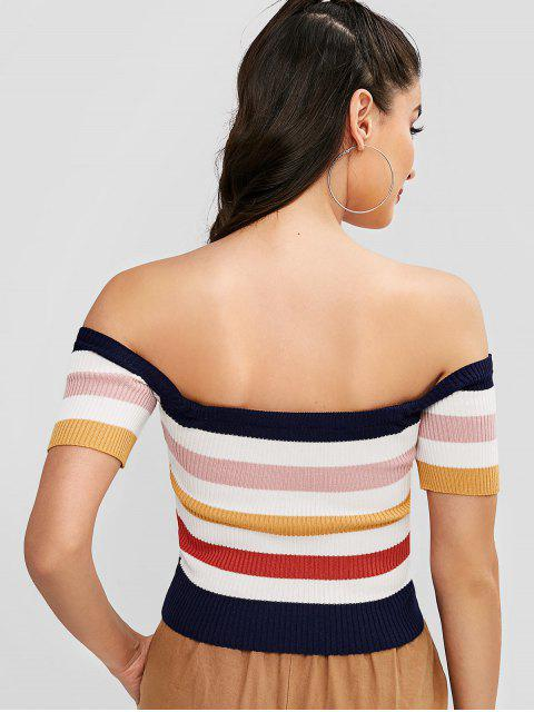 lady Short Striped Off Shoulder Knitted Top - MULTI-A ONE SIZE Mobile