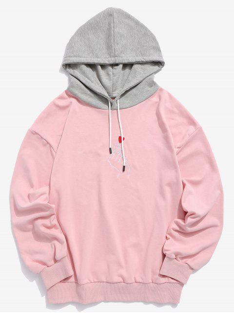 chic ZAFUL Hand Heart Embroidered Colorblock Hoodie - PINK M Mobile