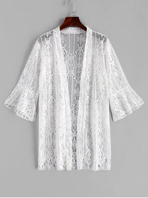 outfits Floral Lace Flare Sleeve Cover Up - WHITE ONE SIZE Mobile