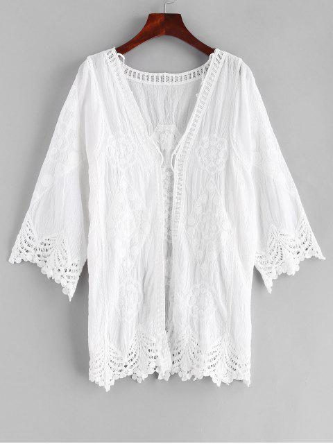 shop Crochet Scalloped Collarless Cover Up - WHITE ONE SIZE Mobile