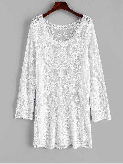 shops Floral Lace Long Sleeve Cover Up Dress - WHITE ONE SIZE Mobile