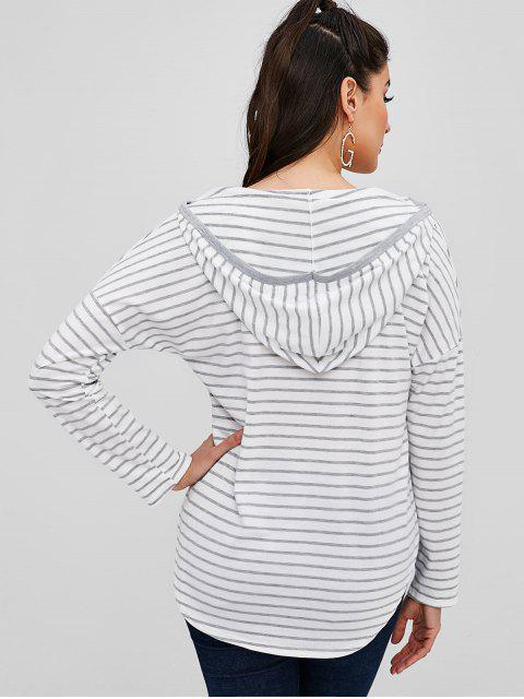 trendy Long Sleeve Striped Hooded Tee - MULTI S Mobile