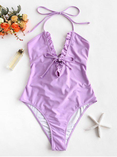 latest ZAFUL Ruffle Lace Up Scrunch Butt Swimsuit - MAUVE L Mobile