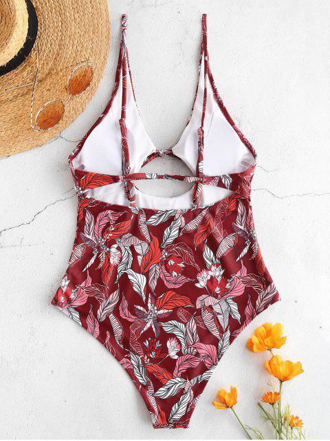 Bañador sin espalda con estampado de hojas de corte alto ZAFUL - Multicolor S Mobile