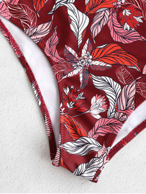 affordable ZAFUL High Cut Leaf Print Backless Swimsuit - MULTI XL Mobile