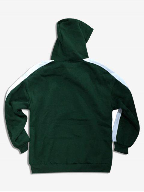 trendy Contrast Letter Embroidery Fleece Hoodie - DEEP GREEN S Mobile