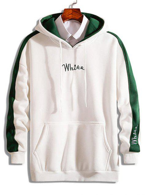 hot Contrast Letter Embroidery Fleece Hoodie - WHITE S Mobile