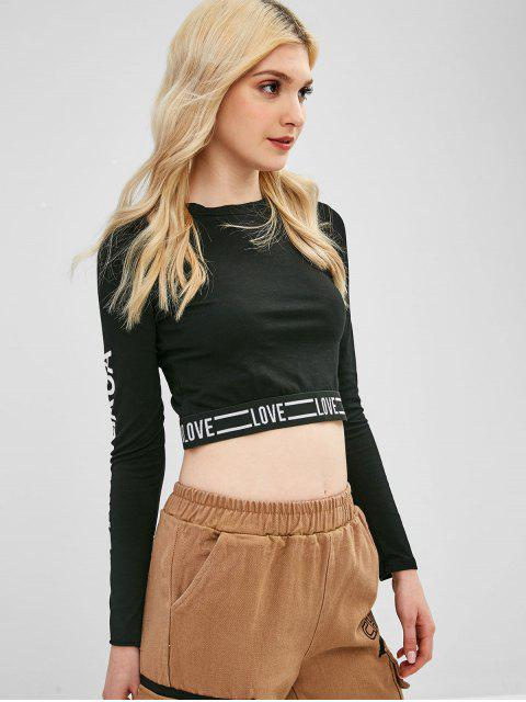 hot Cropped Letter Graphic Top - BLACK ONE SIZE Mobile