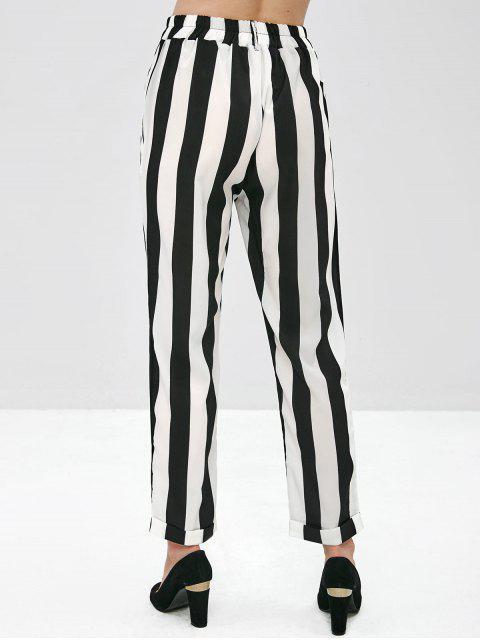Pantalones de cadera con cintura alta a rayas pantalones cónicos - Multicolor S Mobile
