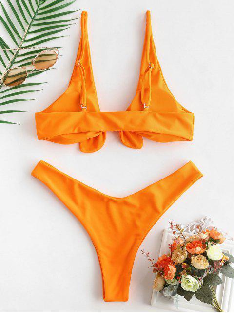 ZAFUL Ensemble de Bikini Noué à Jambe Haute - Orange Foncé S Mobile