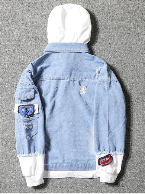chic Casual Faux Pocket Ripped Letter Number Applique Hooded Jacket - LIGHT BLUE L Mobile