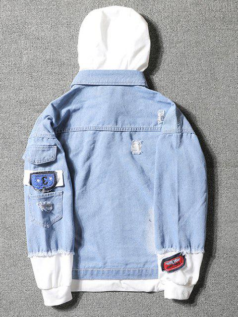 Veste à Capuche Décontractée Déchirée Applique Embellie avec Lettre et Chiffre - Bleu clair 2XL Mobile