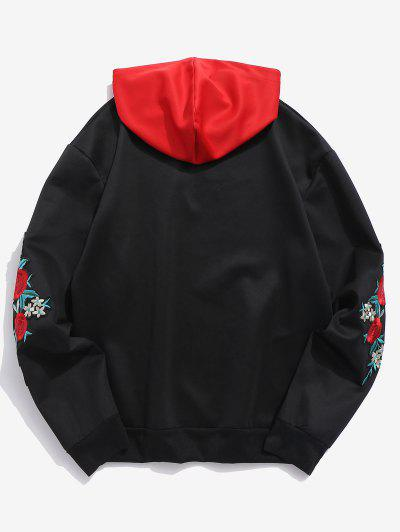 540154e5d0501 ... ZAFUL Embroidery Applique Sleeve Drawstring Hoodie - Black L