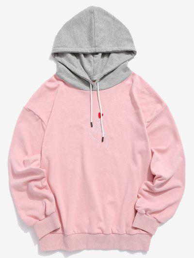 ZAFUL Hand Heart Embroidered Colorblock Hoodie - Pink M ... 9e3bb6994