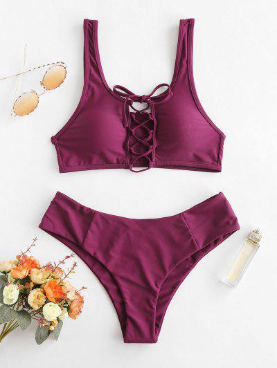 97caed678b ZAFUL Lace Up Scooped Bikini Set - Dark Orchid M