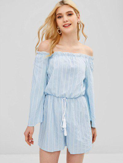 7ef81db7966 Striped Off The Shoulder Bell Sleeve Romper - Baby Blue M ...