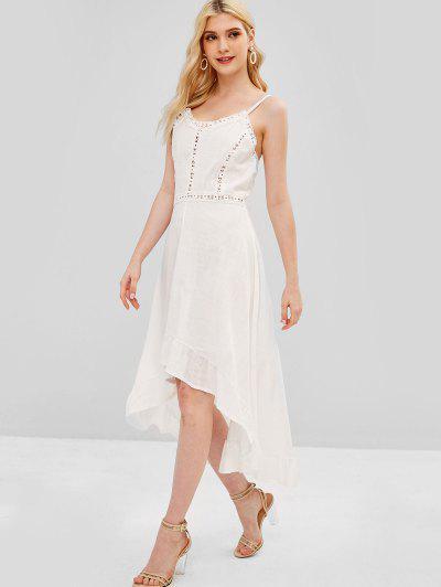 Crochet Panel High Low Dress - White L 94f2a13b8736