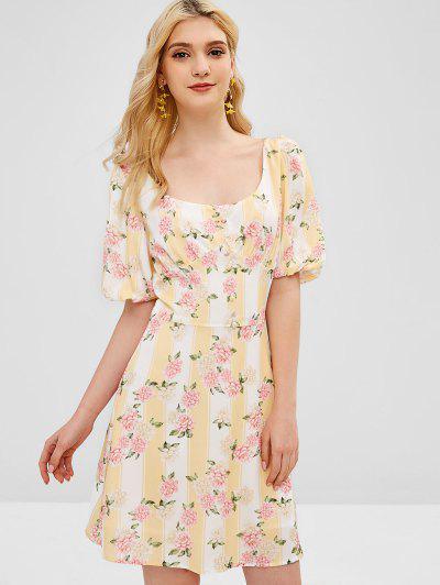 Stripes Buttoned Floral Mini Dress - Multi M 823c594b5876