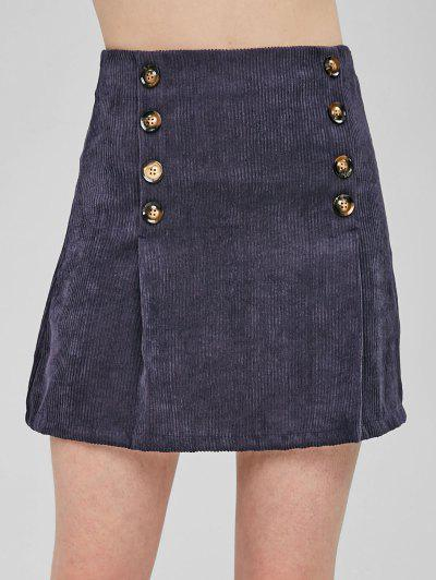 Double-breasted Corduroy Skirt